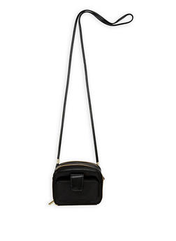 Double Zip Faux Leather Crossbody Bag - 1126067447158
