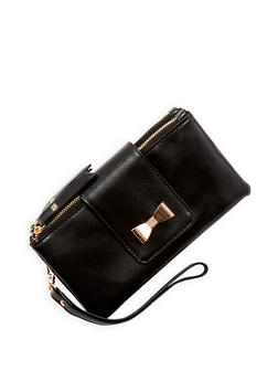 Double Zip Bow Accent Wallet - 1126067447161