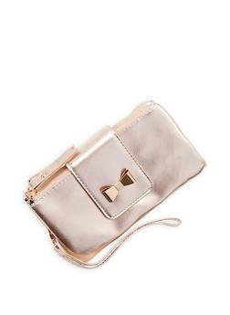 Double Zip Bow Accent Wallet - 1126067447161