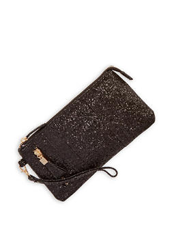 Glitter Zipper Accent Clutch - 1126067447166