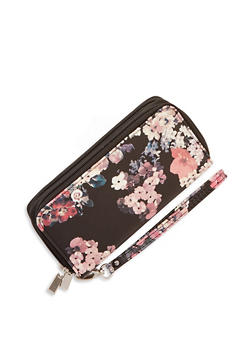 Floral Faux Leather Double Zip Wallet - 1126067447470