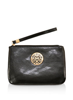 Faux Leather Metallic Detail Wristlet - 1126067448001