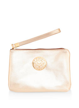 Faux Leather Metallic Detail Wristlet - 1126067448001