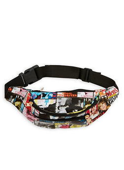 Magazine Graphic Faux Leather Fanny Pack - 1126067448004