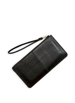 Faux Saffiano Leather Wristlet - 1126067448017