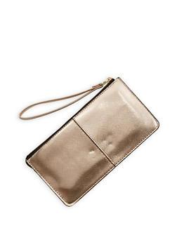 Faux Saffiano Leather Wristlet - 1126067448017