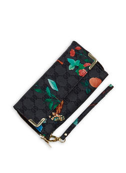 Printed Double Zip Flap Wallet - 1126067448026