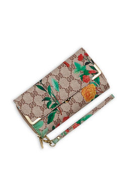 Printed Double Zip Flap Wallet - 1126067448026