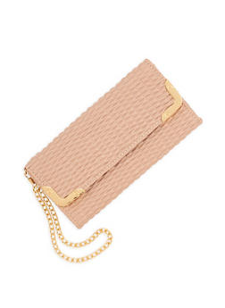 Textured Faux Leather Metallic Accent Wallet - 1126067448027