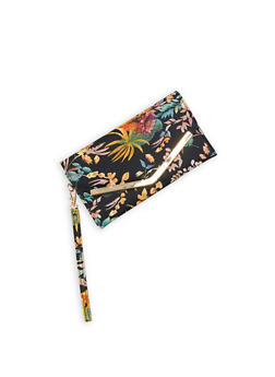 Floral Faux Leather Envelope Clutch - 1126067448028