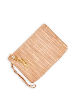 Textured Faux Leather Clutch - 1126067448031
