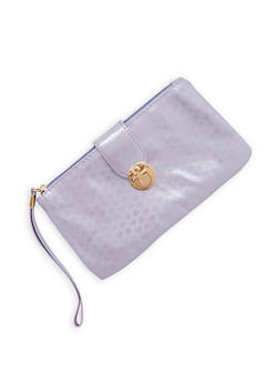 Flap Lock Heart Print Wristlet - 1126067448036