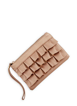 Ruffled Faux Leather Clutch - 1126067448080