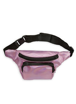 Faux Leather Two Pocket Fanny Pack - 1126067448090