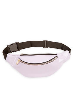Faux Leather Double Zip Fanny Pack - 1126067448800