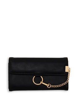 Faux Leather Chain Detail Wallet - 1126071211002