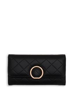 Faux Leather Metallic Ring Wallet - 1126071211005