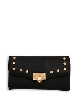Shimmer Faux Leather Studded Wallet - 1126071211006