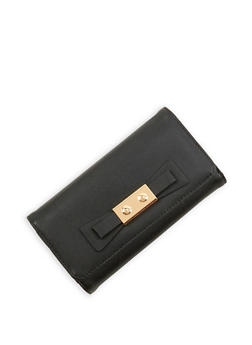 Metallic Bow Faux Leather Wallet - 1126071211011