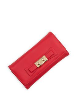 Metallic Bow Faux Leather Wallet - 1126071211011