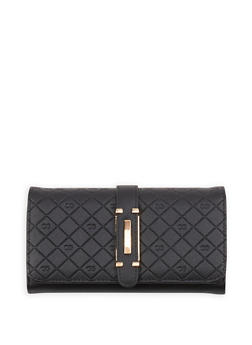 Textured Faux Leather Flap Over Wallet - 1126071211013