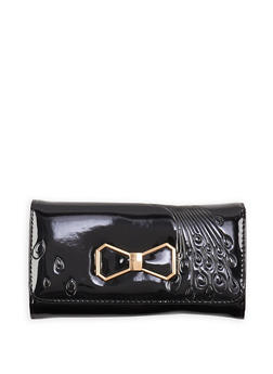 Metallic Bow Patent Faux Leather Wallet - 1126071211014