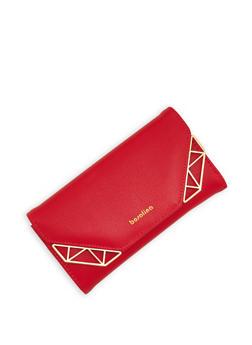 Metallic Accented Tri Fold Wallet - 1126071211017