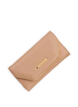 Faux Patent Leather Flap Wallet - 1126071211020