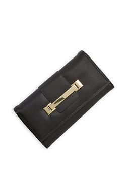 Metallic Bar Accented Tri Fold Wallet - 1126071213002