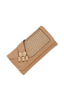Faux Leather Woven Tri Fold Wallet - 1126071218971