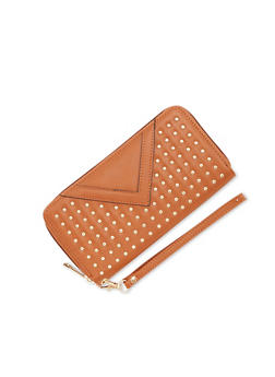 Studded Wristlet Wallet with Faux Flap - 1126073400975