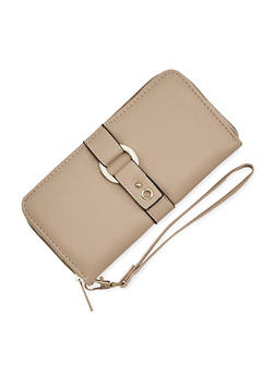 Faux Leather Continental Wallet with Ring Accent - 1126073401014