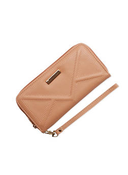 Faux Leather Wristlet with Chevron Stitch - 1126073401016
