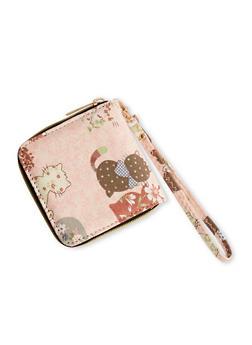 Cat Print One Zip Wristlet Wallet - 1126073401101
