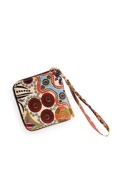 Printed One Zip Wristlet Wallet - 1126073401199