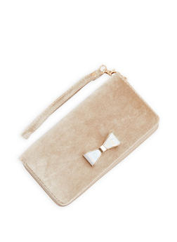 Velvet Bow Wallet with Wristband - 1126073401255