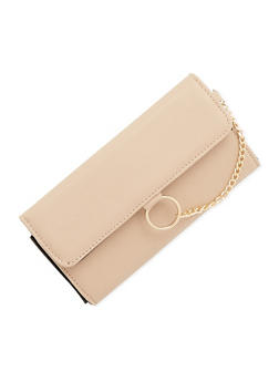 Chain Ring Faux Leather Wallet - 1126073401256