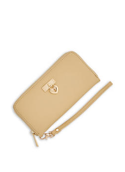 Textured Faux Leather Wallet with Heart Lock Charm - 1126073407260