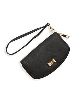 Faux Leather Wristlet Wallet with Bow - 1126073408130
