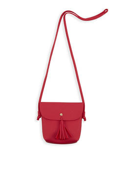 Mini Faux Leather Tassel Crossbody Bag - 1126073895731