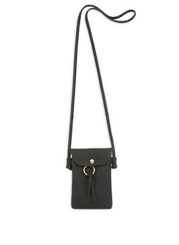 Small Textured Faux Leather Crossbody Bag - 1126073895809