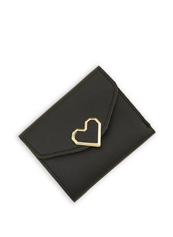 Heart Detail Mini Trifold Faux Leather Wallet - 1126073896053