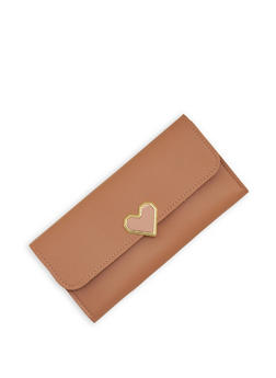 Faux Leather Geometric Heart Lock Wallet - 1126073896057
