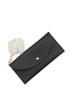 Faux Leather Wallet with Pom Pom Keychain - 1126073896081