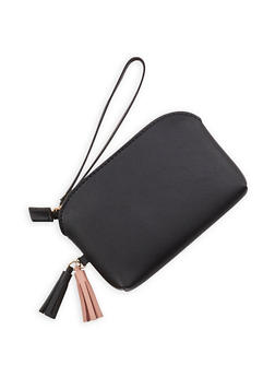 Faux Leather Tassel Wristlet - 1126073896089