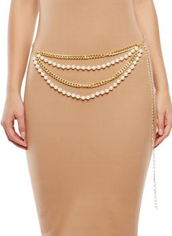 Plus Size Faux Pearl Chain Belt - 1128018437193