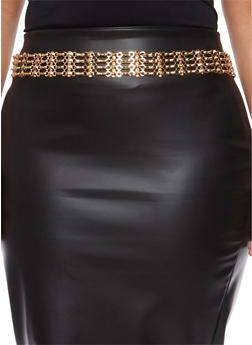 Plus Size Tiered Chain Belt with Studs - 1128041650322