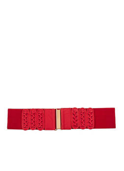 Faux Leather Cross Stitch Belt - 1128041650691