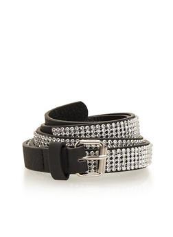 Plus Size Faux Leather Rhinestone Studded Belt - 1128041651178