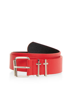 Faux Leather Belt with Cross Buckles - 1128041652047